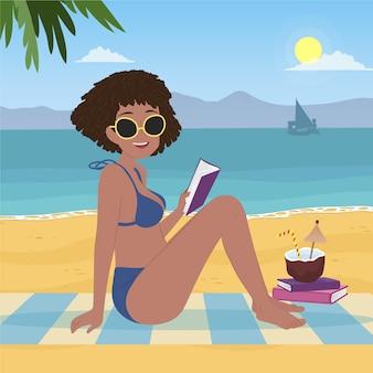 Płaska konstrukcja dziewczyny w bikini na plaży ilustracja