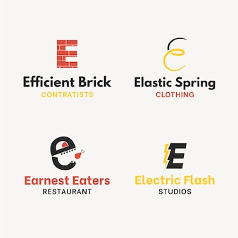 Płaska konstrukcja e kolekcja szablonów logo