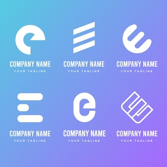 Płaska konstrukcja e szablony logo