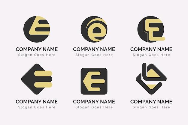 Płaska konstrukcja e zestaw szablonów logo