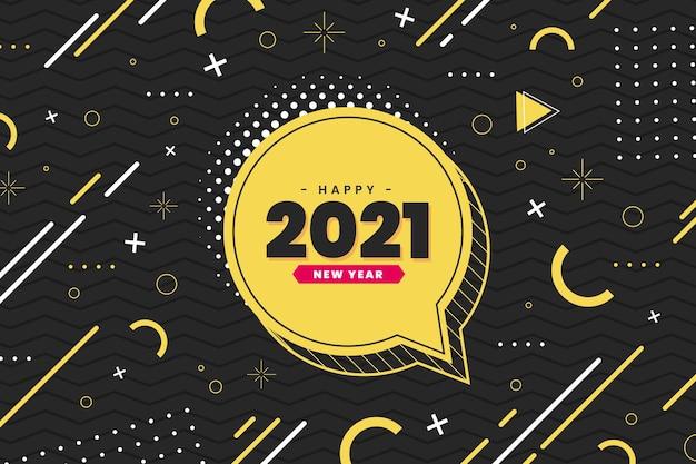 Płaska konstrukcja efektu memphis szczęśliwego nowego roku 2021