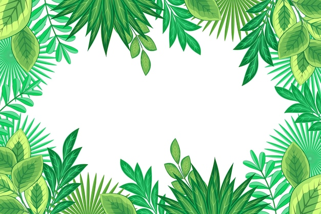 Płaska konstrukcja egzotycznych zielonych liści