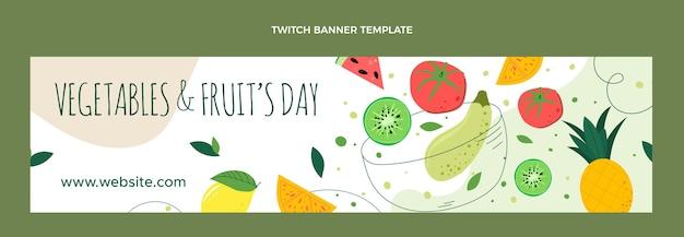 Płaska konstrukcja ekologicznej żywności twitch banner