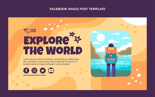 Płaska konstrukcja eksploruj światowy post na facebooku