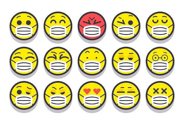 Płaska konstrukcja emoji z maskami na twarz