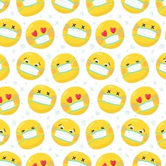 Płaska konstrukcja emoji z wzorem maski na twarz