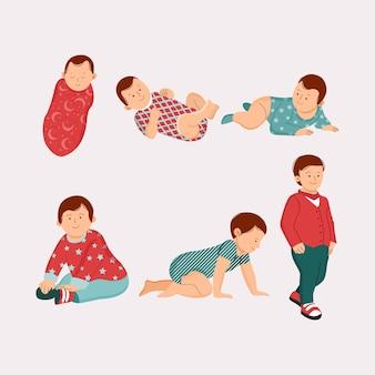 Płaska konstrukcja etapów chłopca