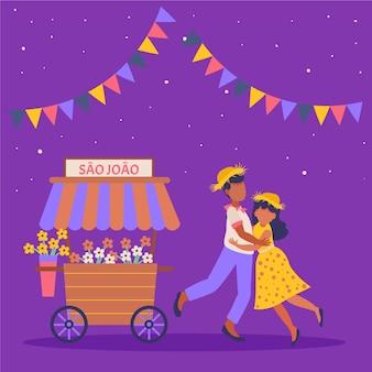 Płaska konstrukcja festa junina ilustracja z mężczyzną i kobietą
