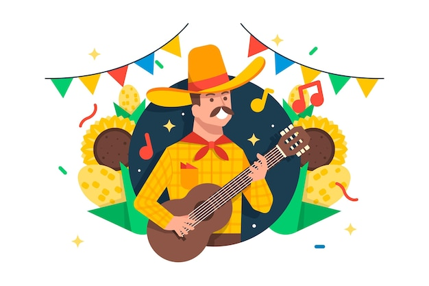Płaska konstrukcja festa junina ilustracja