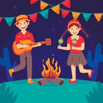 Płaska konstrukcja festa junina ludzie tańczą i śpiewają