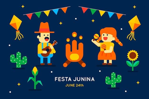 Płaska konstrukcja festa junina tło