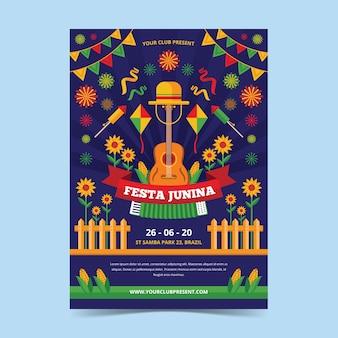 Płaska konstrukcja festa junina ulotki szablon projektu