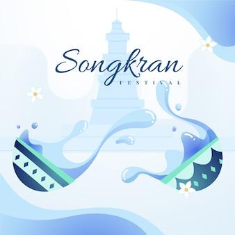 Płaska konstrukcja festiwalu songkran
