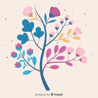 Płaska konstrukcja gałąź kwiatowa