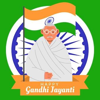 Płaska konstrukcja gandhi jayanti i wydarzenie flagi