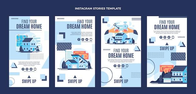 Płaska konstrukcja geometryczne historie o nieruchomościach na instagramie