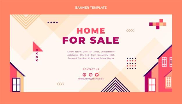 Płaska konstrukcja geometrycznego banera sprzedaży nieruchomości