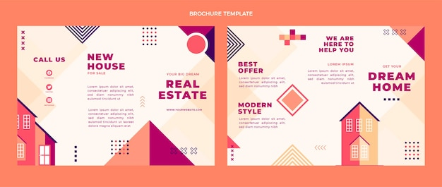 Płaska konstrukcja geometrycznej broszury nieruchomości