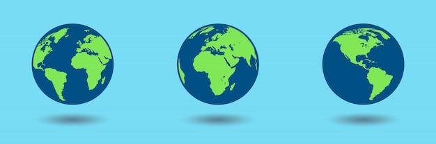 Płaska konstrukcja globusów ziemi na niebieskim tle