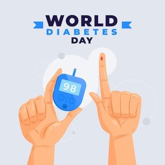 Płaska konstrukcja glukometru i rąk na światowy dzień cukrzycy