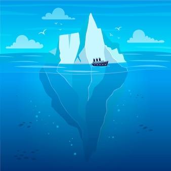 Płaska konstrukcja góry lodowej ilustracja z łodzią
