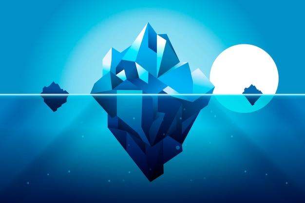 Płaska konstrukcja góry lodowej ilustracja ze słońcem
