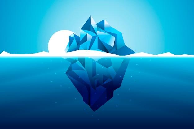 Płaska konstrukcja góry lodowej ze słońcem