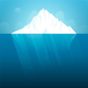 Płaska konstrukcja góry lodowej