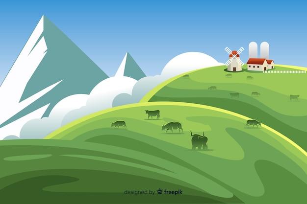 Płaska konstrukcja gospodarstwa krajobraz tło