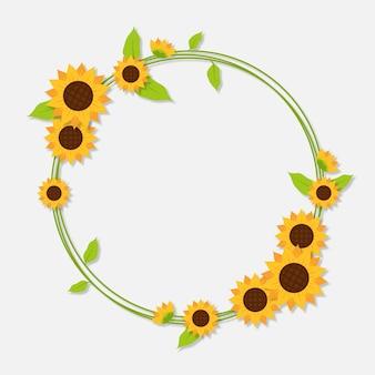 Płaska konstrukcja granicy słonecznika z miejsca na kopię