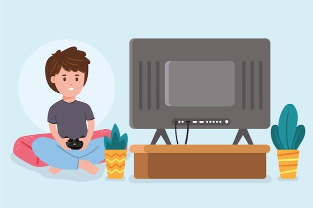 Płaska konstrukcja gry online koncepcja z chłopcem