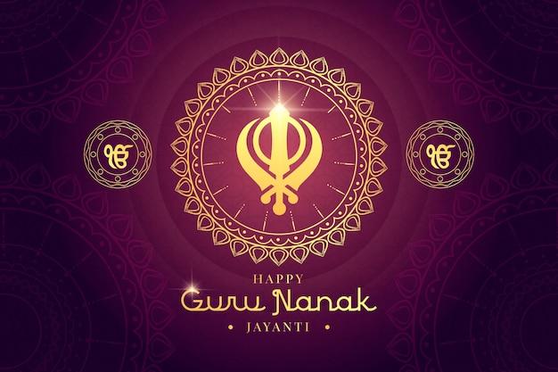 Płaska konstrukcja guru nanak tradycyjna dekoracja