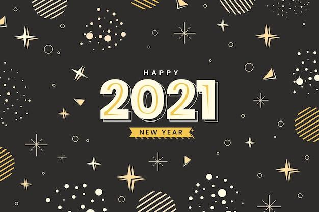 Płaska konstrukcja gwiazd i kropek szczęśliwego nowego roku 2021
