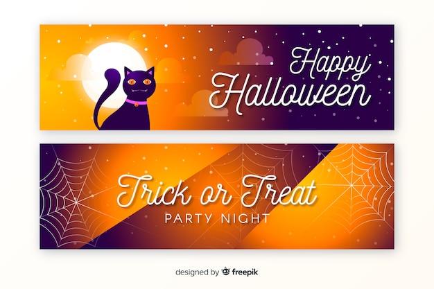 Płaska konstrukcja halloween banery szablon