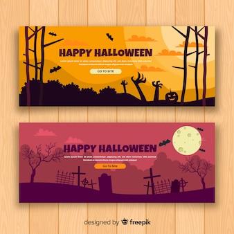 Płaska konstrukcja halloween banner