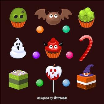 Płaska konstrukcja halloween cukierki kolekcja
