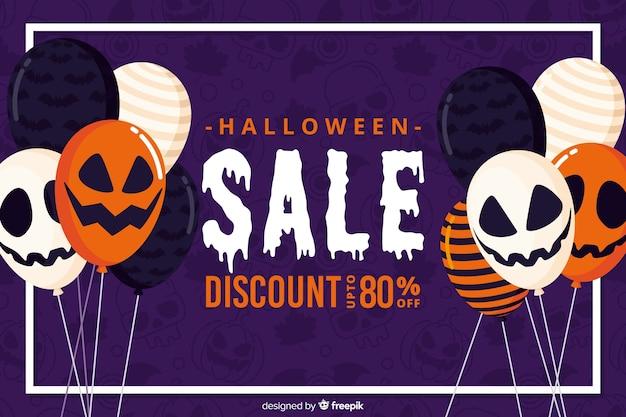 Płaska konstrukcja halloween sprzedaż tło z balonami