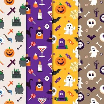 Płaska konstrukcja halloween wzór kolekcji