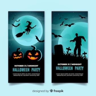 Płaska konstrukcja halloweenowych banerów