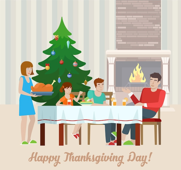 Płaska konstrukcja happy thanksgiving day pocztówka z życzeniami, rodzina przy świątecznym stole z kominkiem, indyk. wakacyjna kolekcja mieszkań.