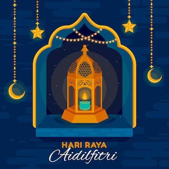 Płaska konstrukcja hari raya aidilfitri ze świecą