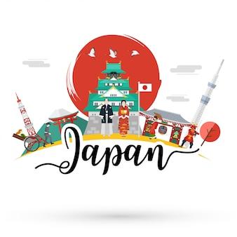 Płaska konstrukcja, ilustracja charakterystycznych miejsc i ikon w japonii,