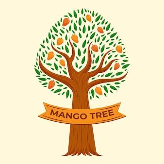 Płaska konstrukcja ilustracja drzewo mango