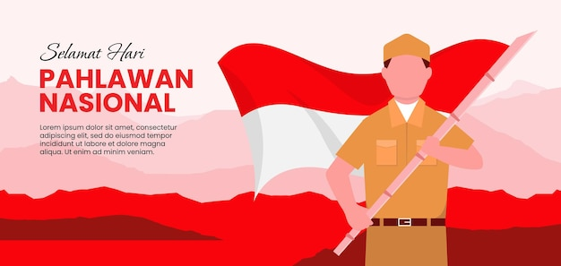Płaska konstrukcja ilustracja dzień bohaterów pahlawan