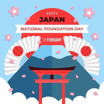 Płaska konstrukcja ilustracja dzień założenia japonii