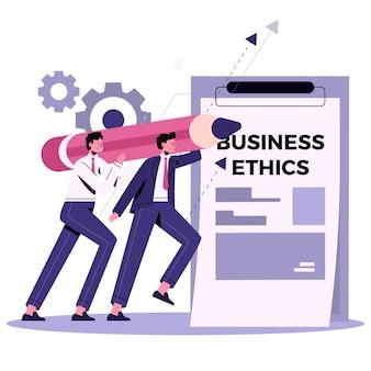 Płaska konstrukcja ilustracja etyki biznesu