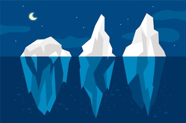 Płaska konstrukcja ilustracja góry lodowej