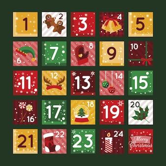 Płaska konstrukcja ilustracja kalendarz adwentowy