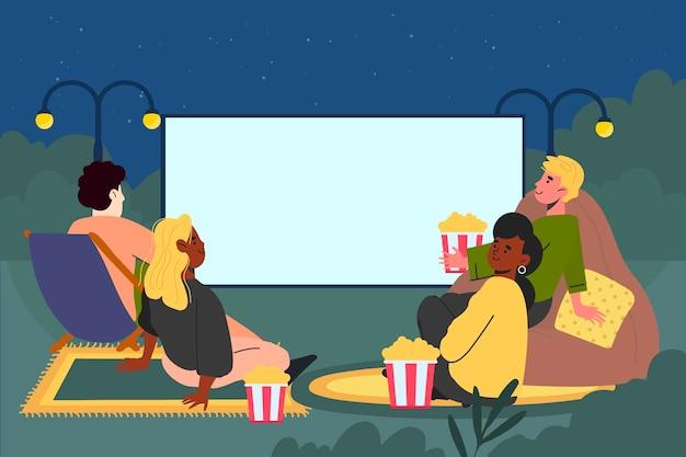 Płaska konstrukcja ilustracja kino na świeżym powietrzu