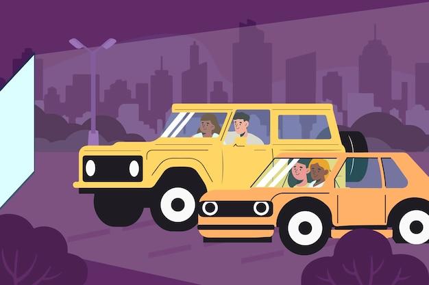 Płaska konstrukcja ilustracja kino samochodowe
